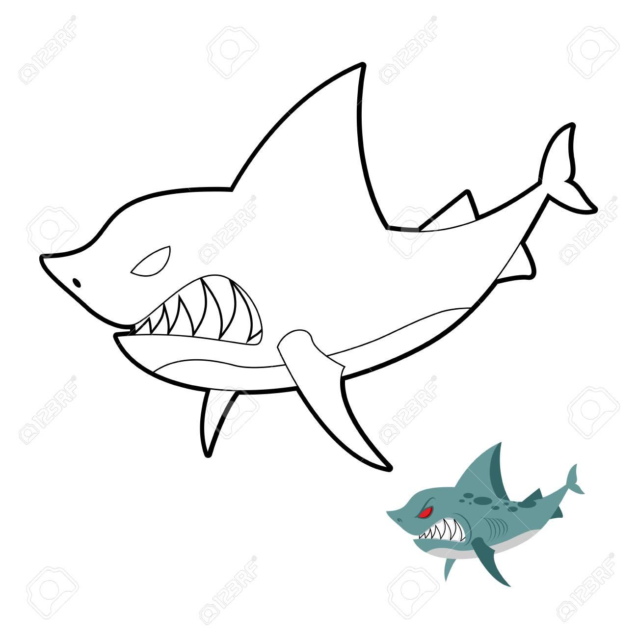Libro Para Colorear Tiburón. Angryl Animales Bajo El Agua ...