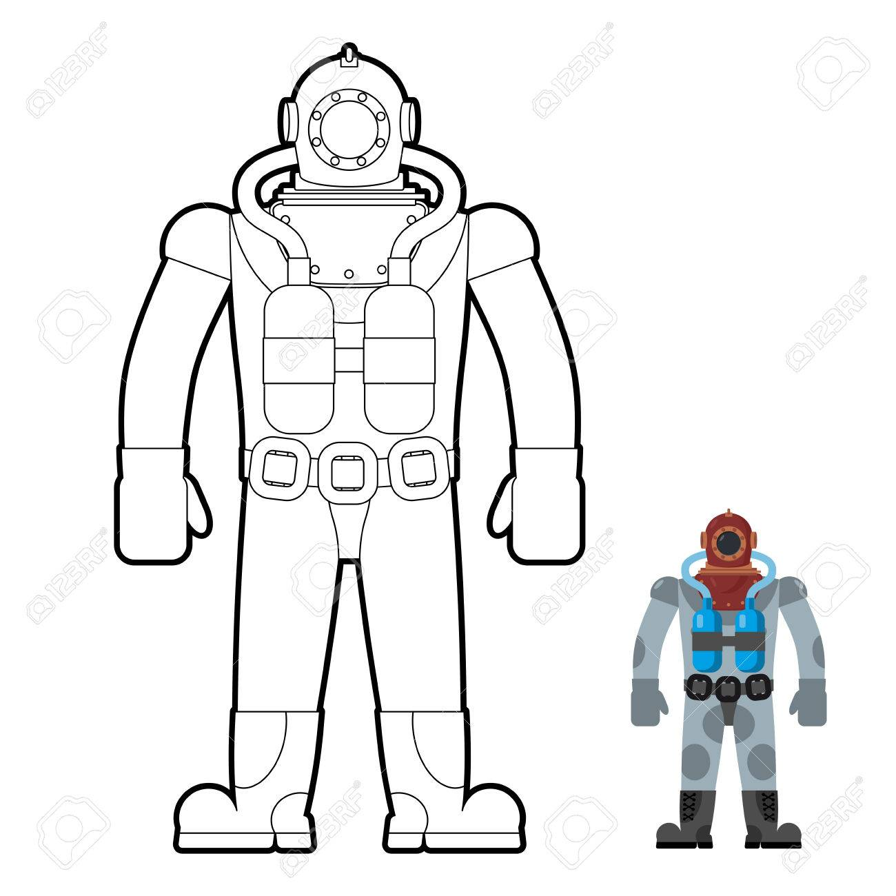 Old Wetsuit Coloring Book Diver In An Suit For Scuba Diving Vector Illustration