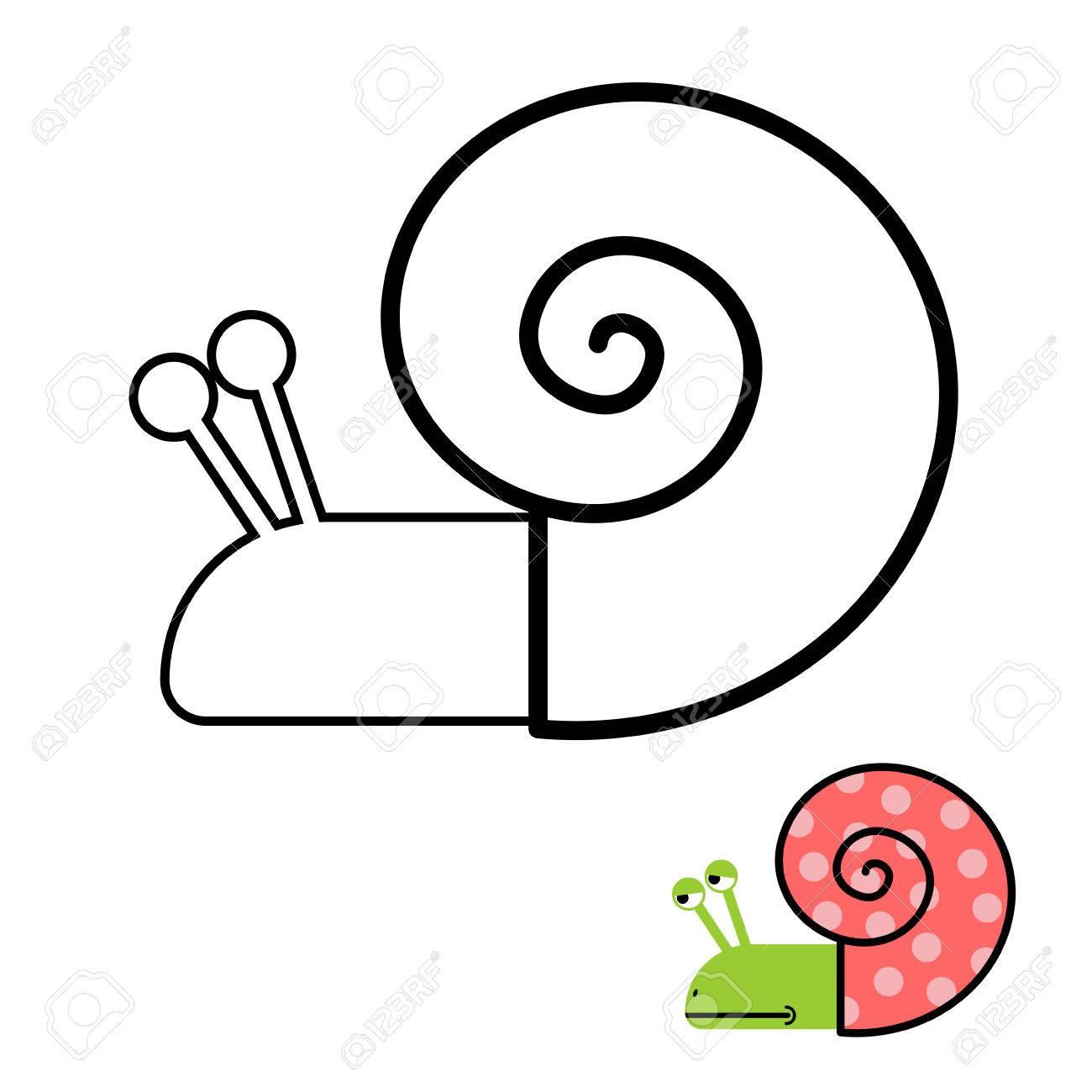 Libro Para Colorear Caracol. Almeja Gastropoda Con Concha En Espiral ...