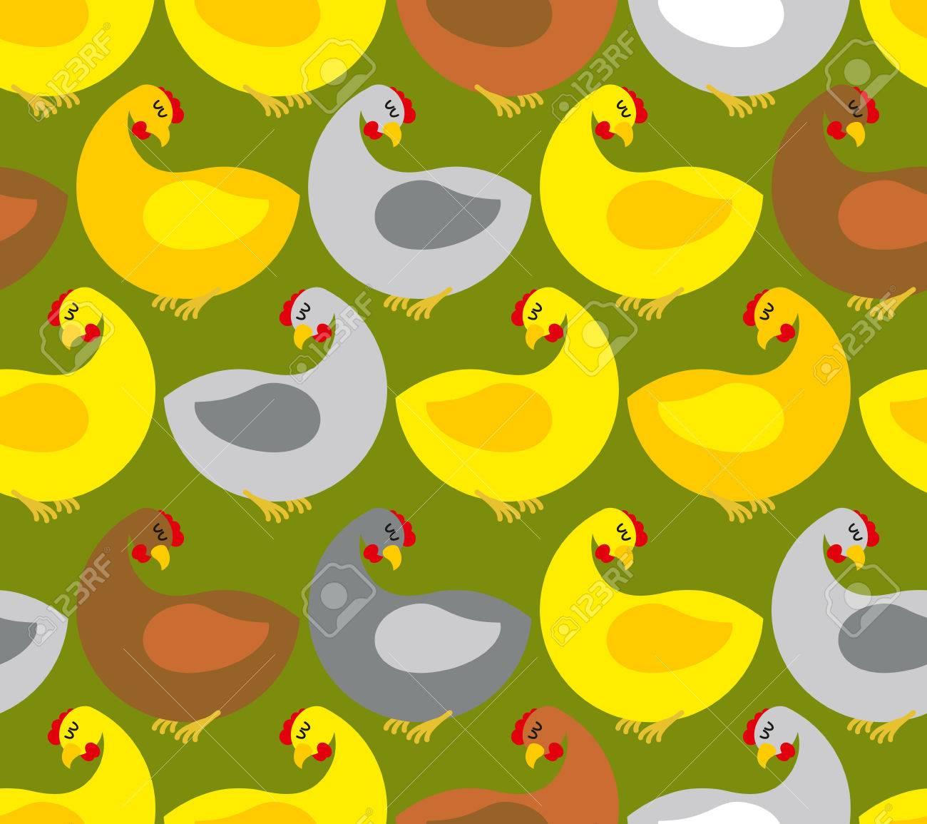 Modelo Inconsútil De Pollo. Granja De Pollos. Muchas Aves De Colores ...
