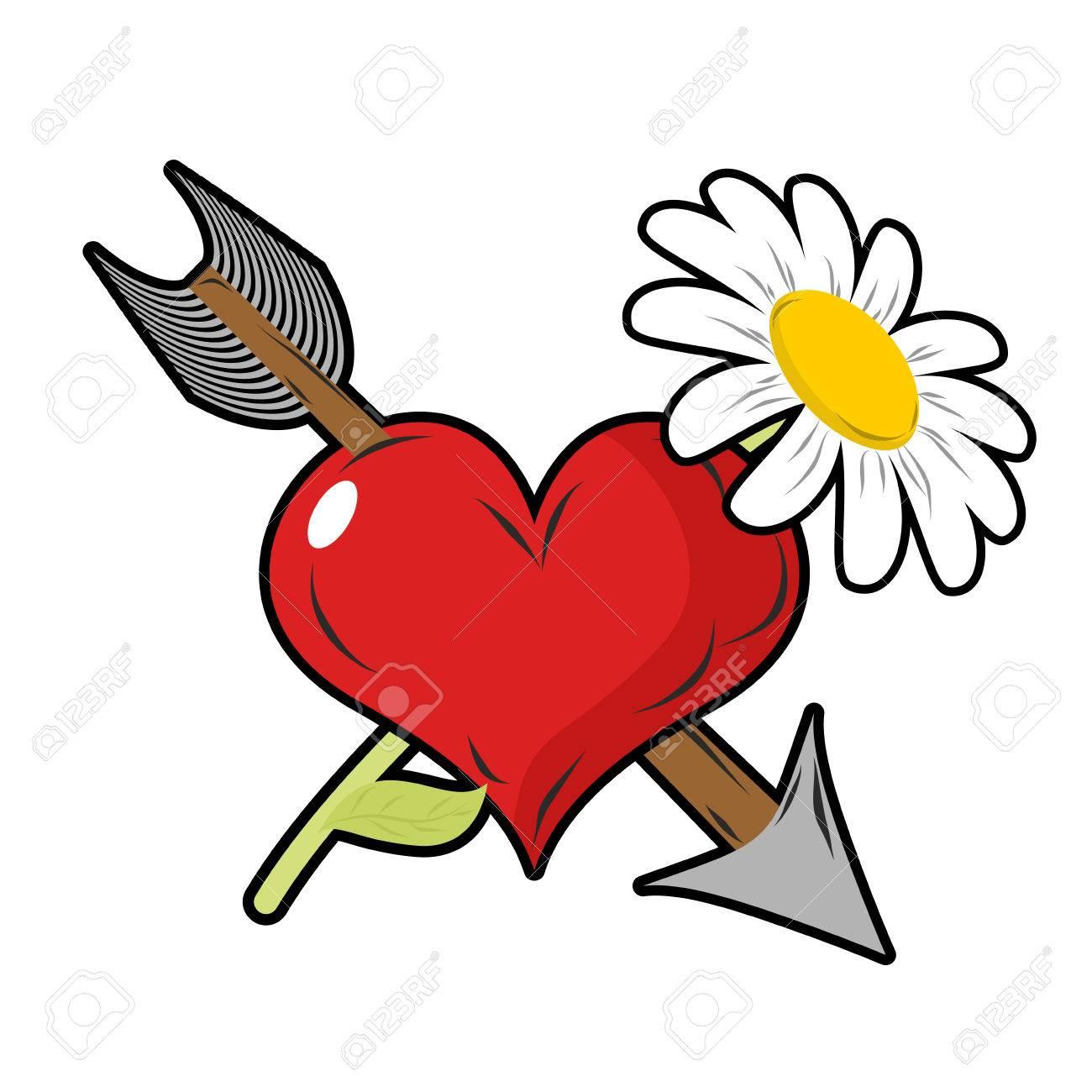 L Amour Et La Fleur Coeur Rouge Et Fleche Daisy Fleurs Sur Le