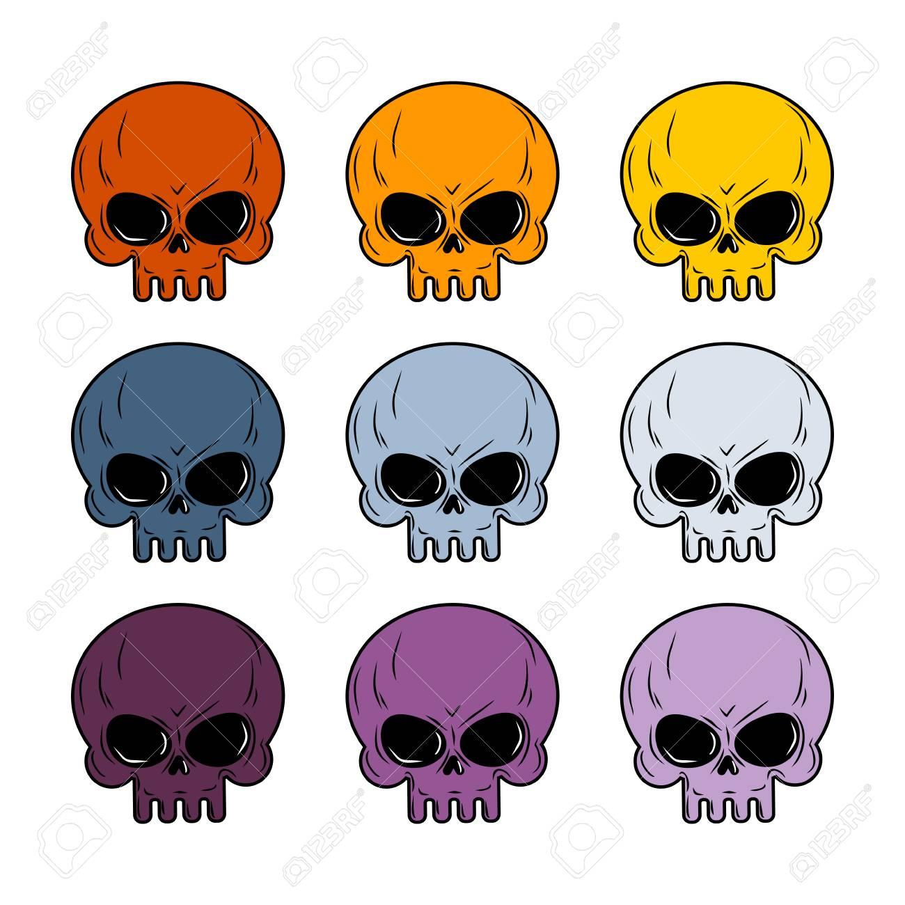 Conjunto Cráneo. Cráneo De Color. Conjunto De Esqueleto De La Cabeza ...