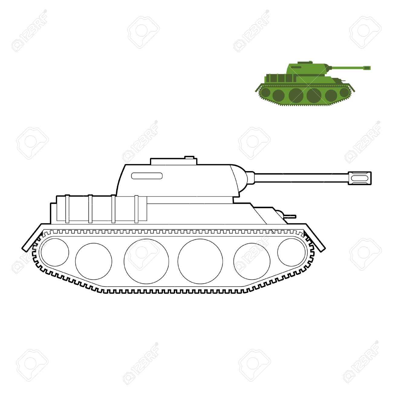 Military Tank Coloring Book. Fighting Technique In Linear Style ...