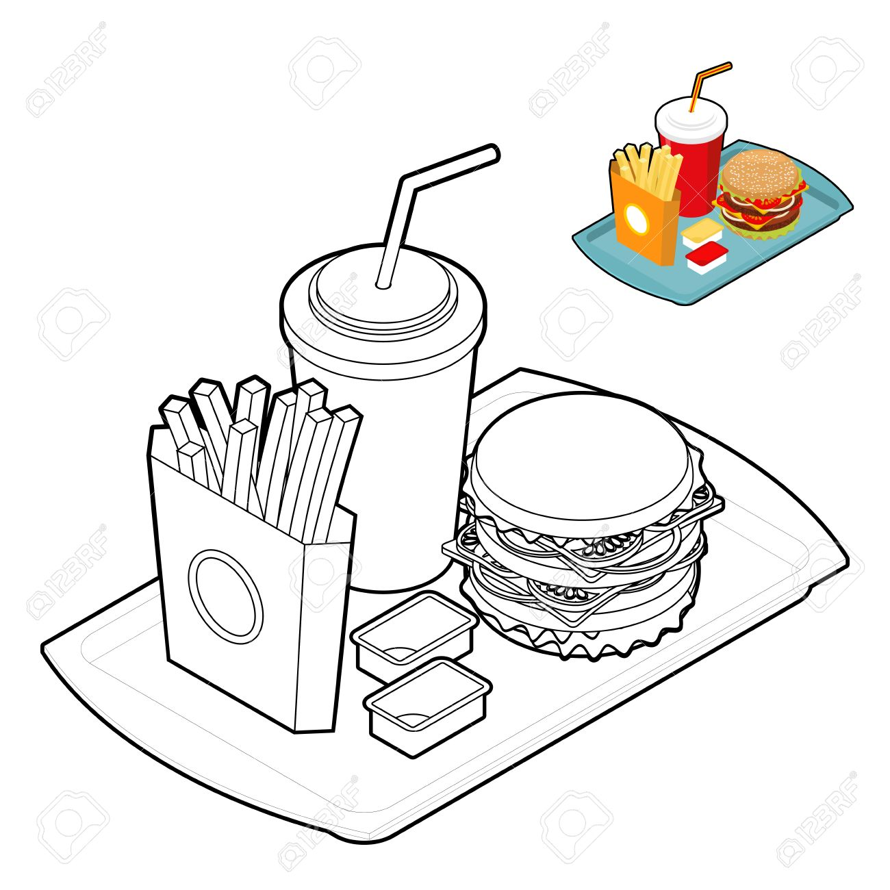 Fast Food Coloring Book. Food In Linear Style. Big Fresh Hamburger ...