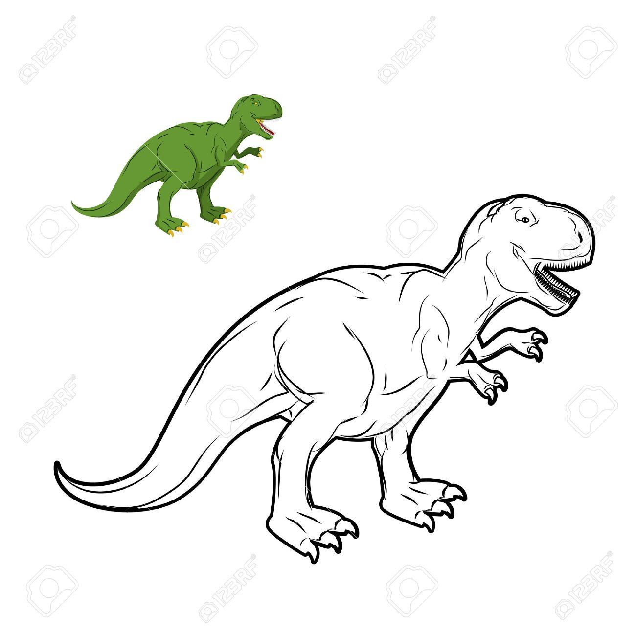 Tyrannosaurus Rex Libro Para Colorear Dinosaurio. Estilo Lineal De ...