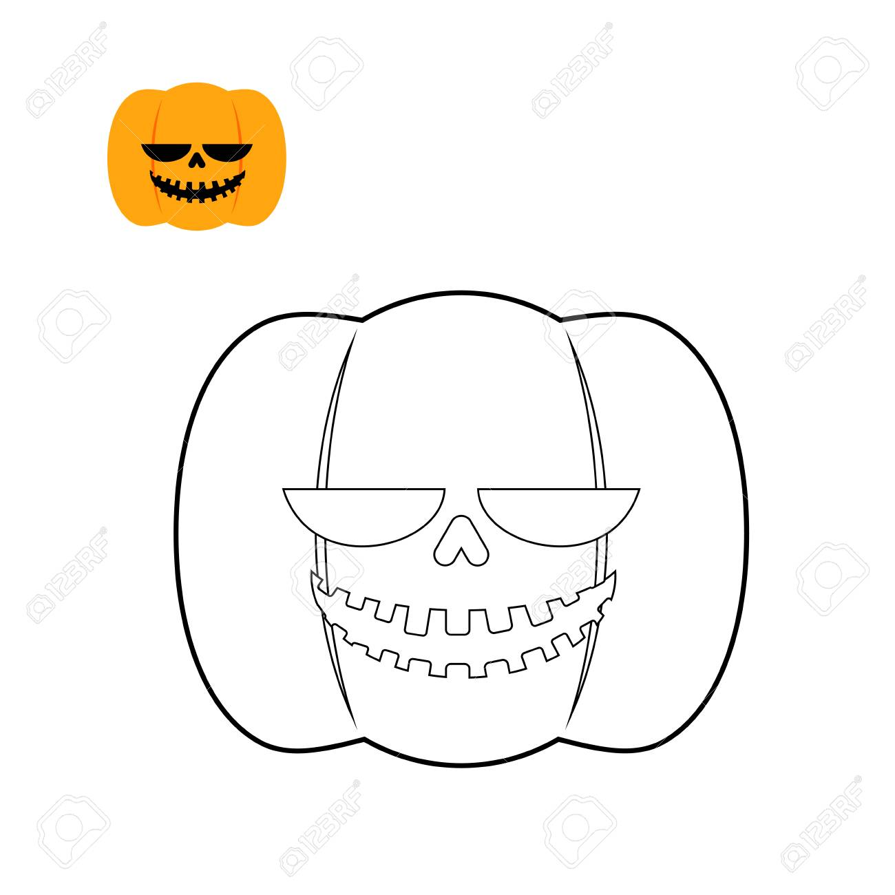 Halloween Pumpkin Coloring Book. Symbol For Dreaded Holiday In ...