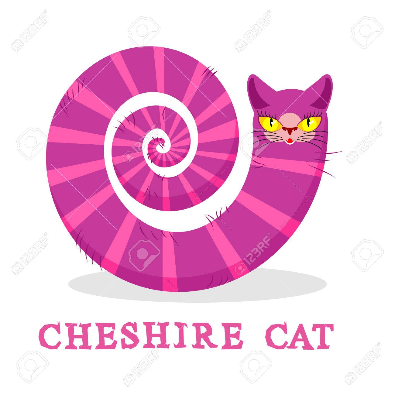 Gato De Cheshire. Animal Mágico Con La Cola Larga. Fairy Tale Rayas ...