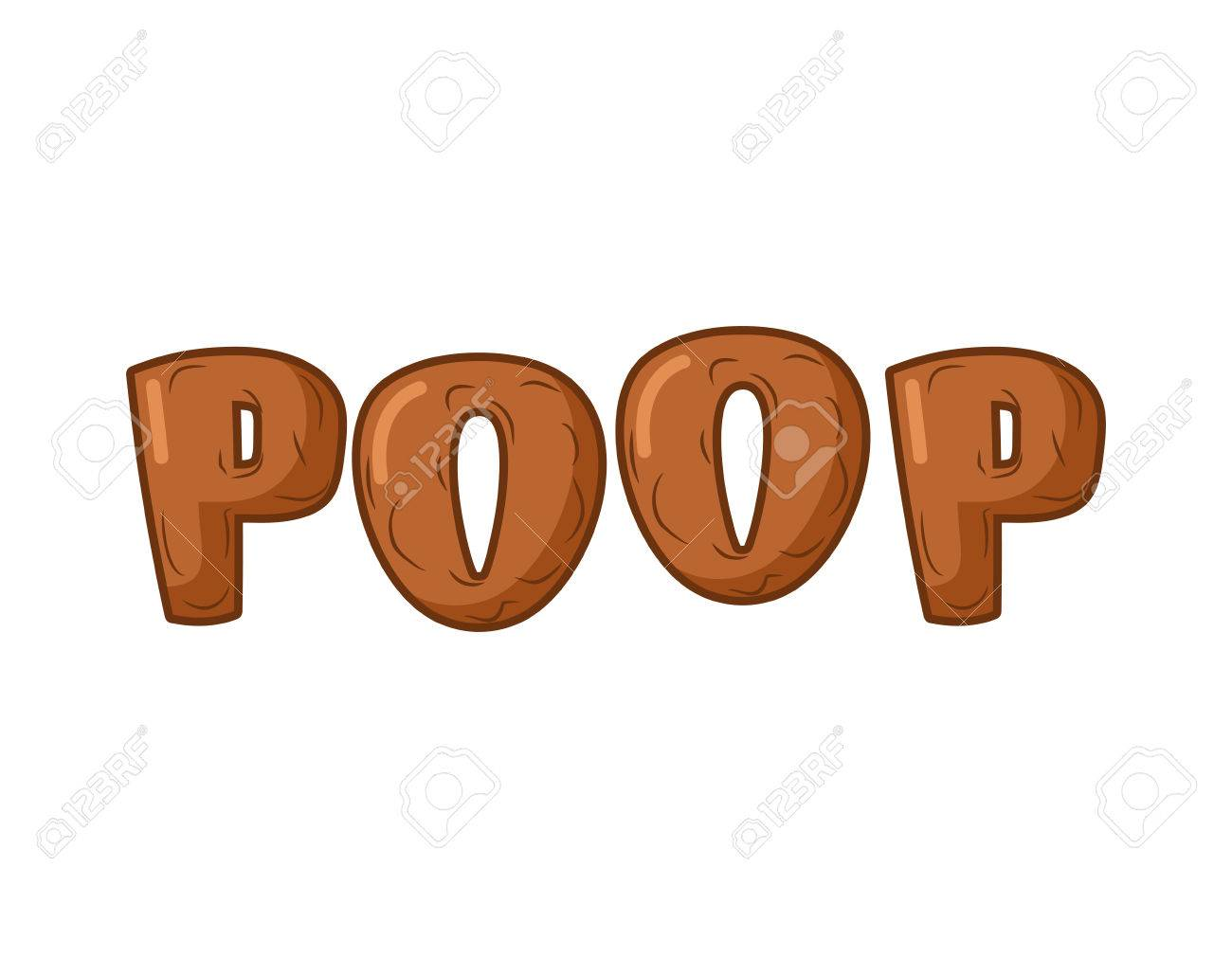 Poop Lettring on white background. Brown letters of shit. turd typography  Stock Vector -