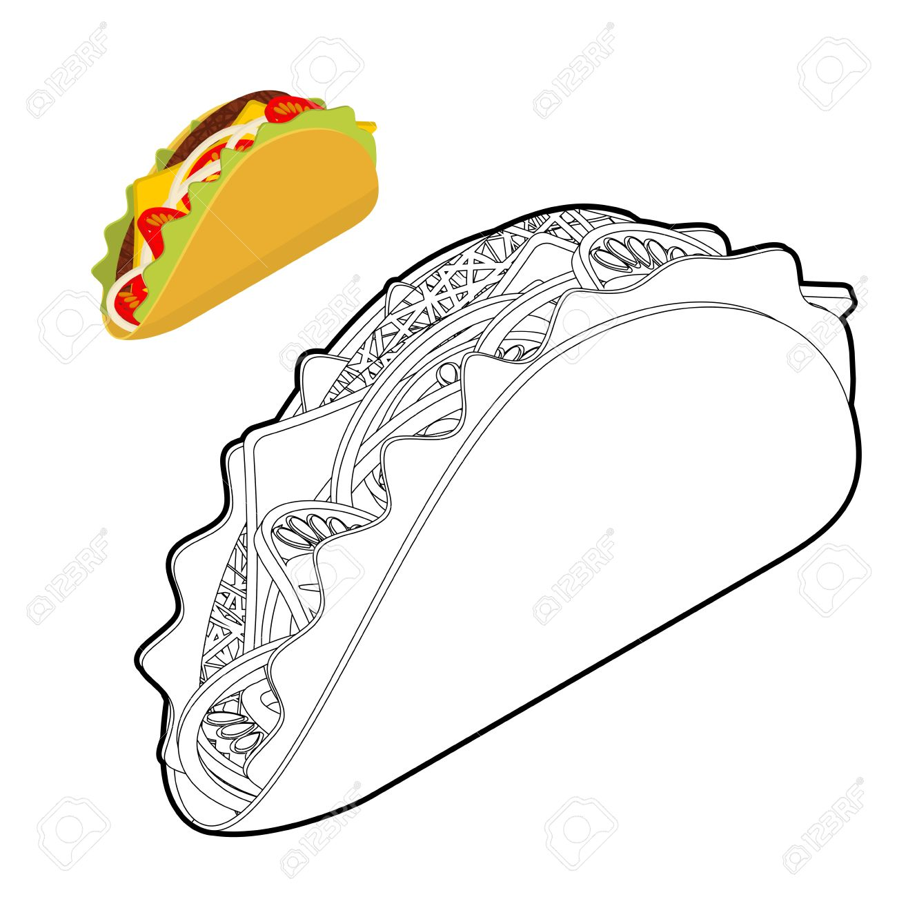 Taco Coloring Book Traditional Mexican Food In Linear Style