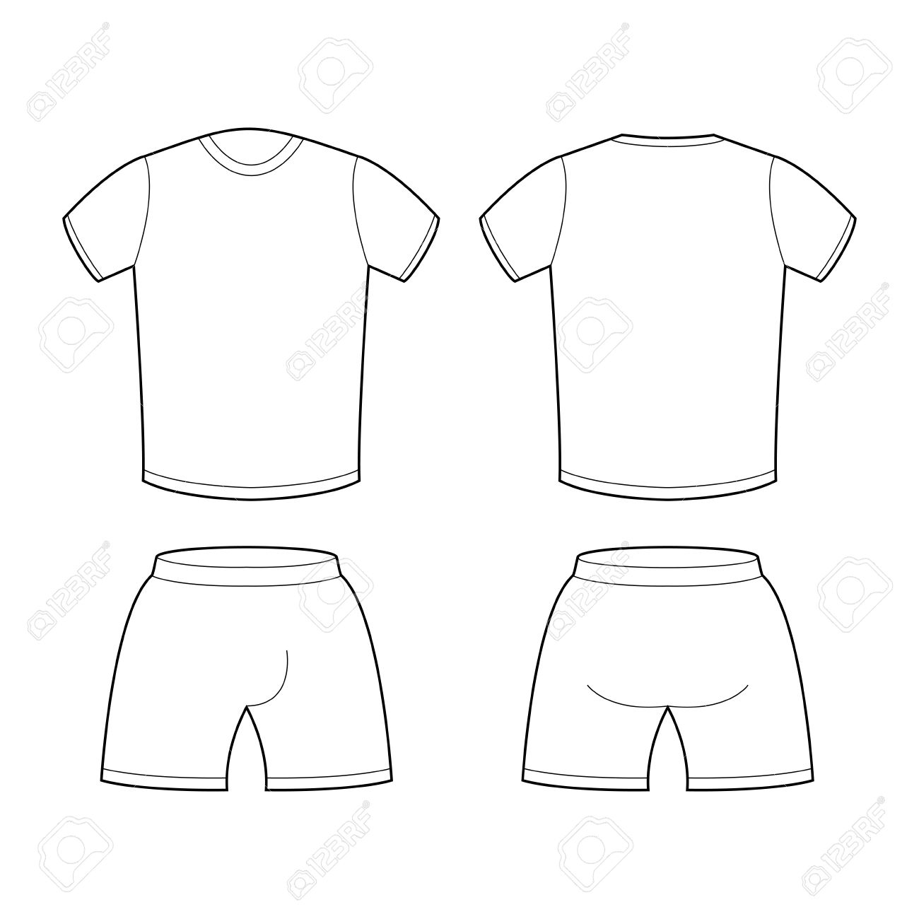 White t shirt for design - T Shirt And Shorts Template For Design Sample For Sports Clothing Soccer Football