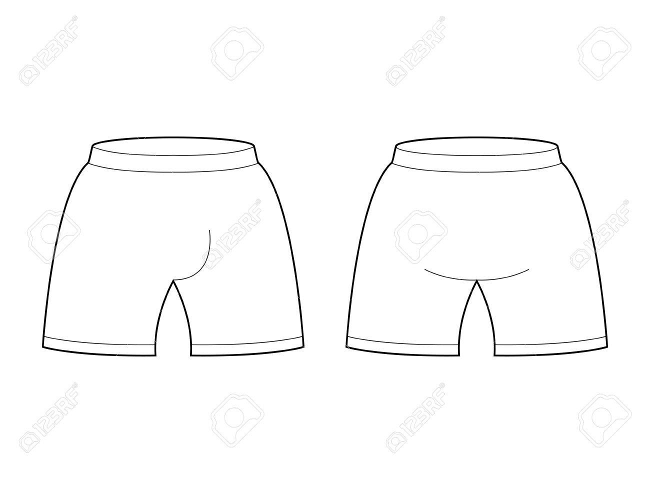 Shorts Template For Design Sample Sports Football Clothing Briefs Blank Curve Stock Vector