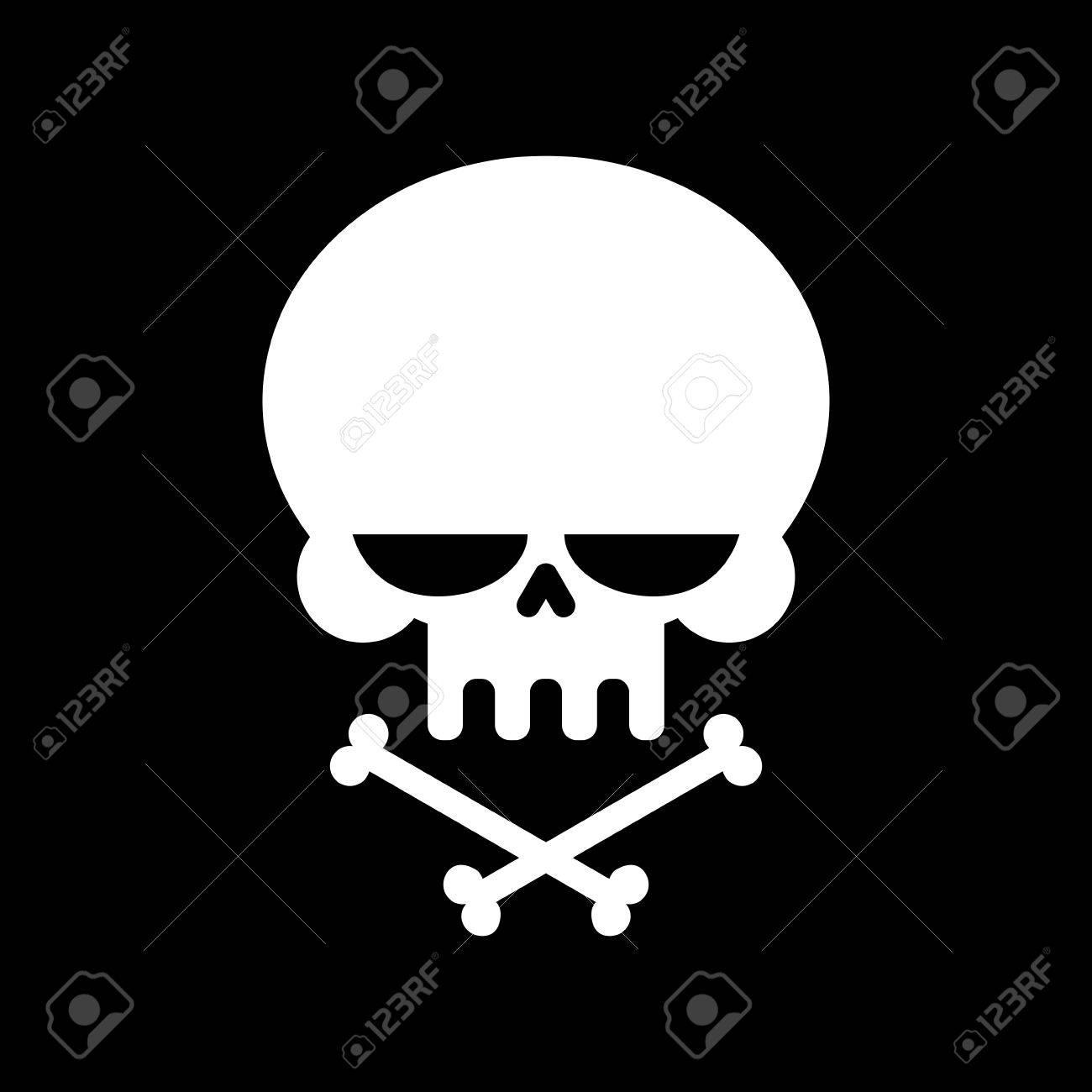 Schädel Und Gekreuzte Knochen Isoliert. Skelett Kopf. Melden ...