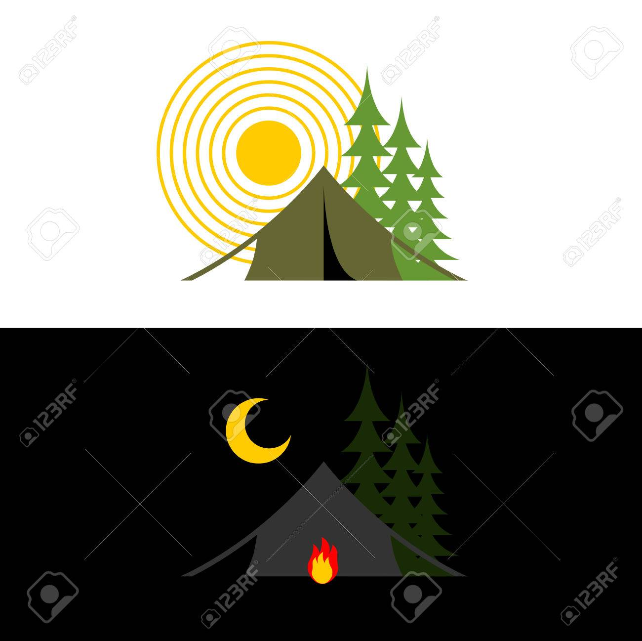 c23e050d67 Camping day and night. Landscape with tent and forest. Accommodation in camp.  Sun