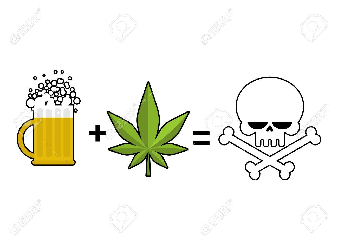 Alkohol Und Drogen Ist Der Tod. Becher Bier Und Marihuana-Blatt Ist ...