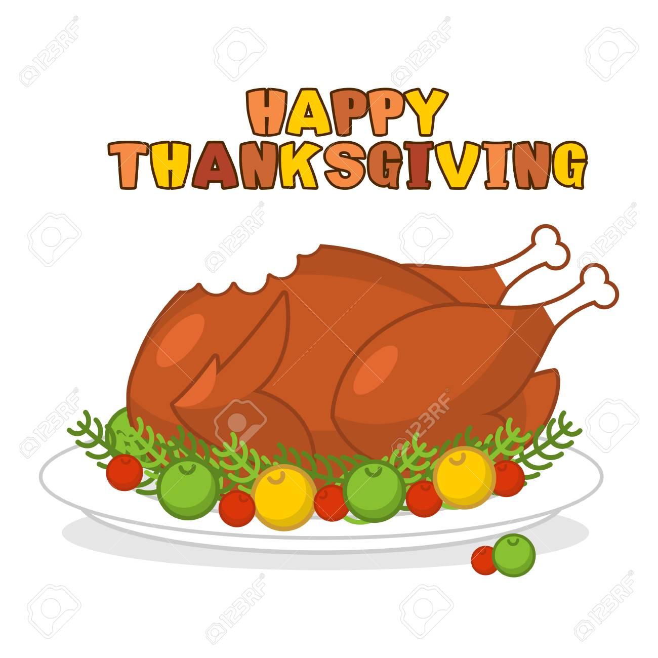 Feliz Día De Acción De Gracias. Pavo Asado. Aves De Corral En La ...
