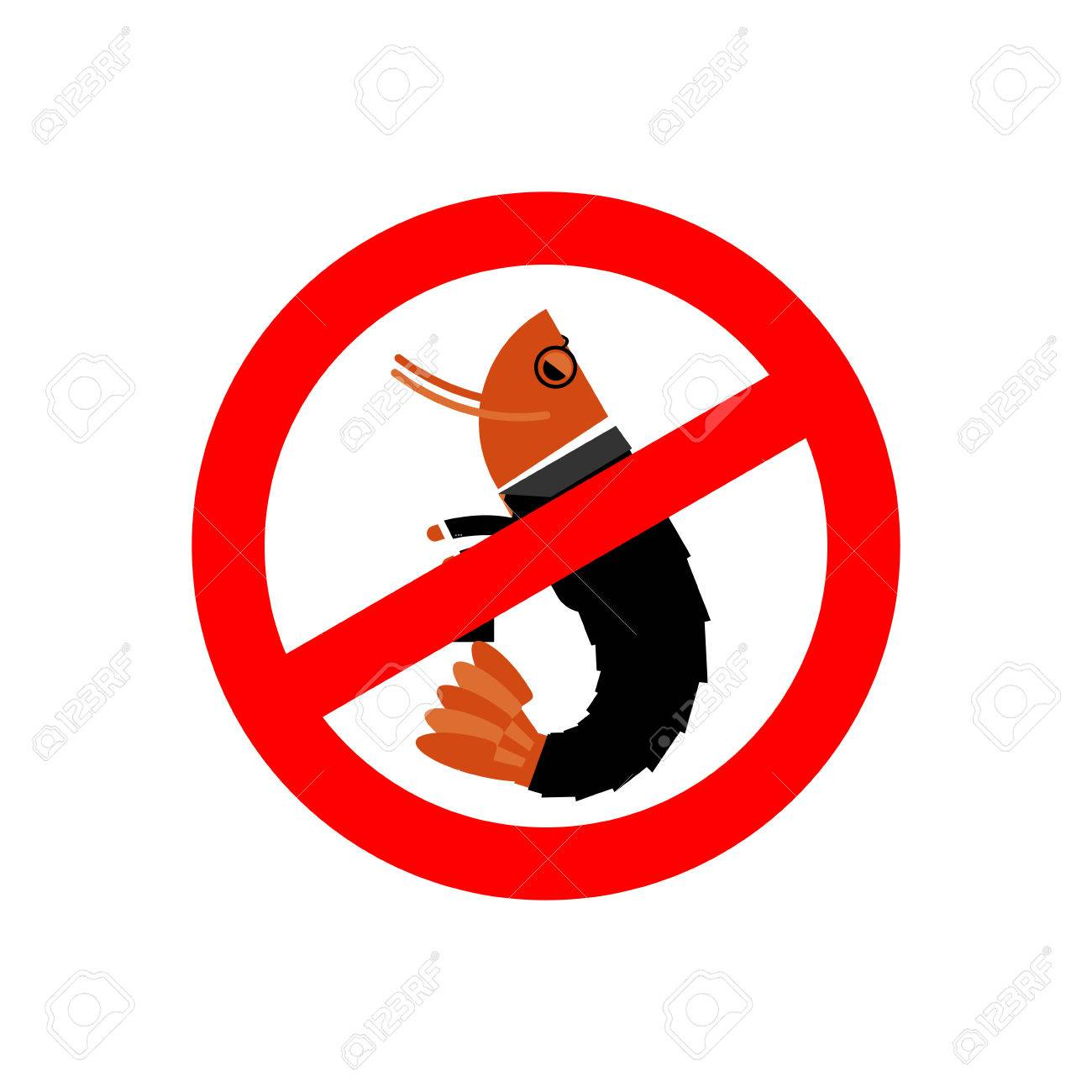 Stop Office Plankton Prohibited Shrimp In Suit Red Prohibition