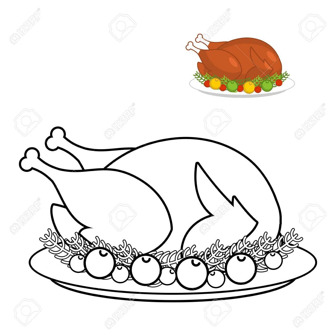 roast turkey for thanksgiving coloring book fowl on plate in