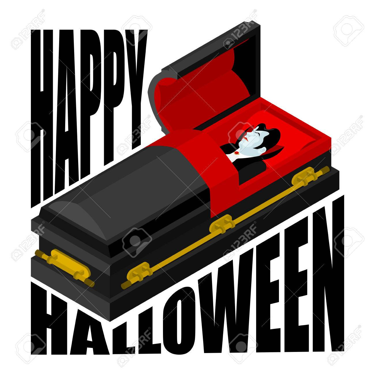 Happy Halloween  Dracula in open coffin  Illustration for terrible