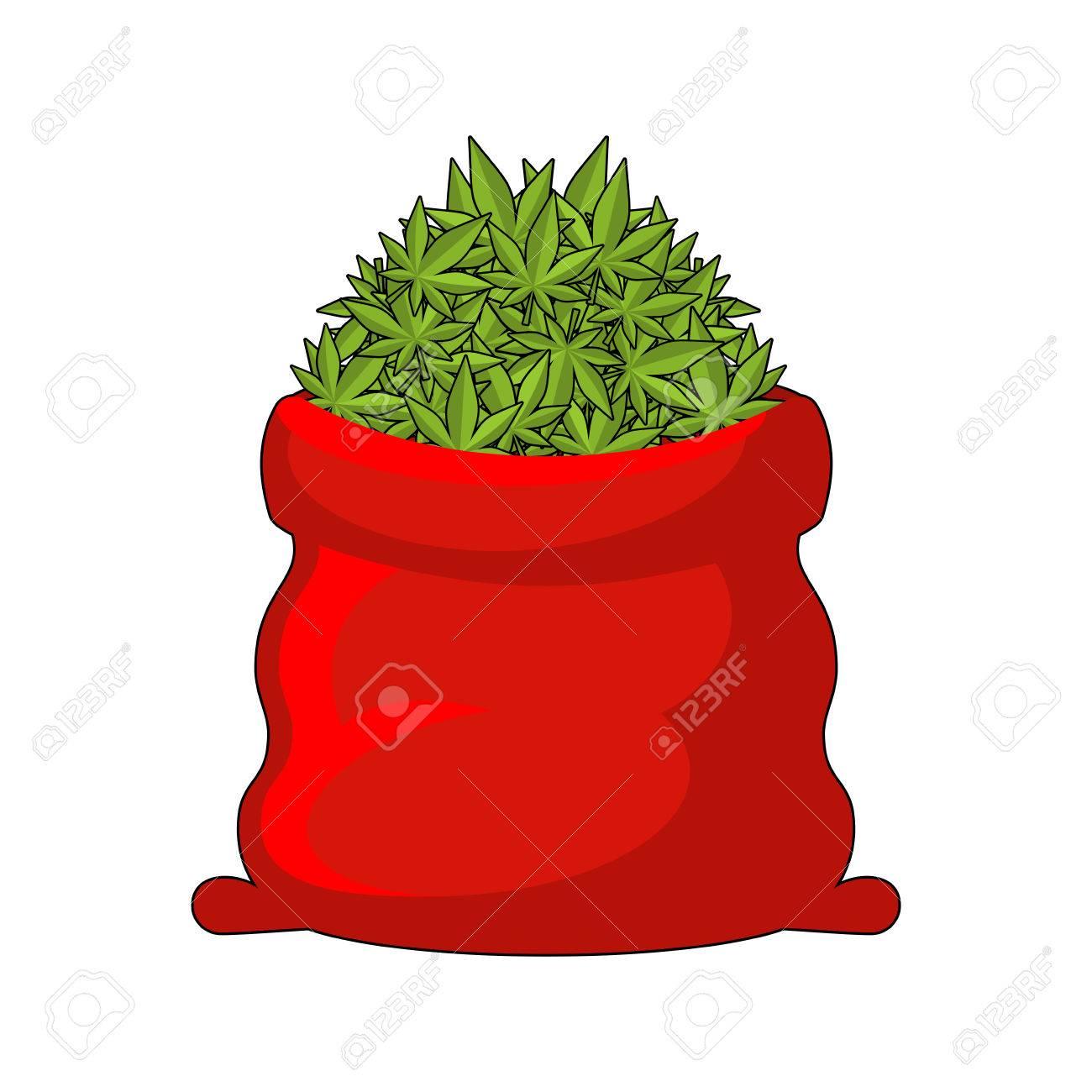 Large red bag of marijuana. Smoking drug. heap