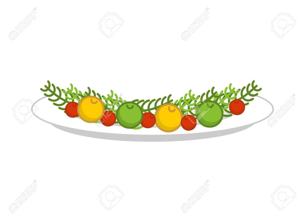 Teller Mit Gemüse Für Gebratenen Truthahn. Teller Mit Garnierung Für ...