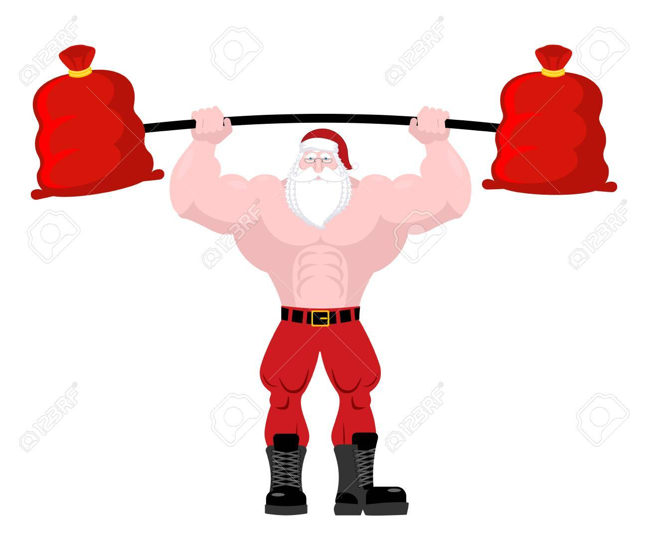 Strong Santa Claus Lift Barbell Of Red Bag Gifts. Powerful Old ...