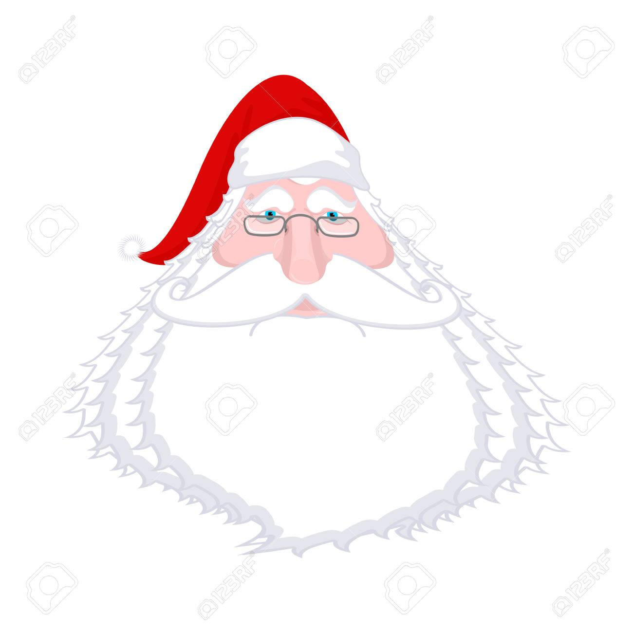 Santa Claus Face Isolated Christmas Grandpa With White Beard