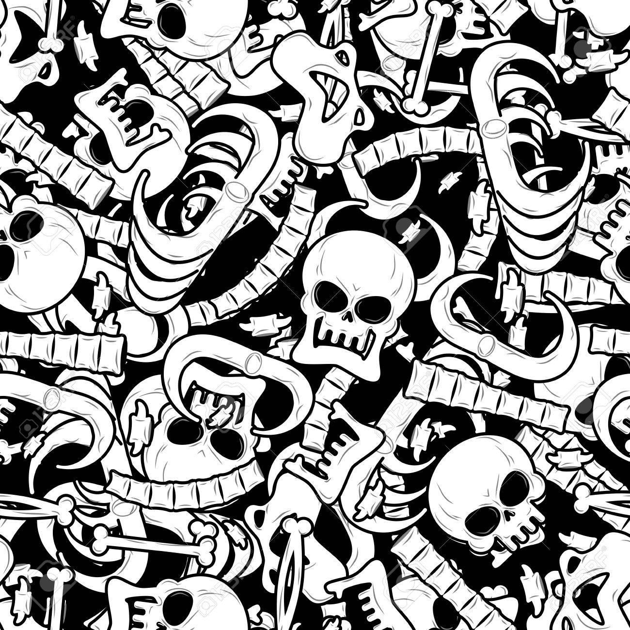 Los Huesos Sin Patrón. Esqueleto De Fondo. Ornamento Del Cráneo. La ...
