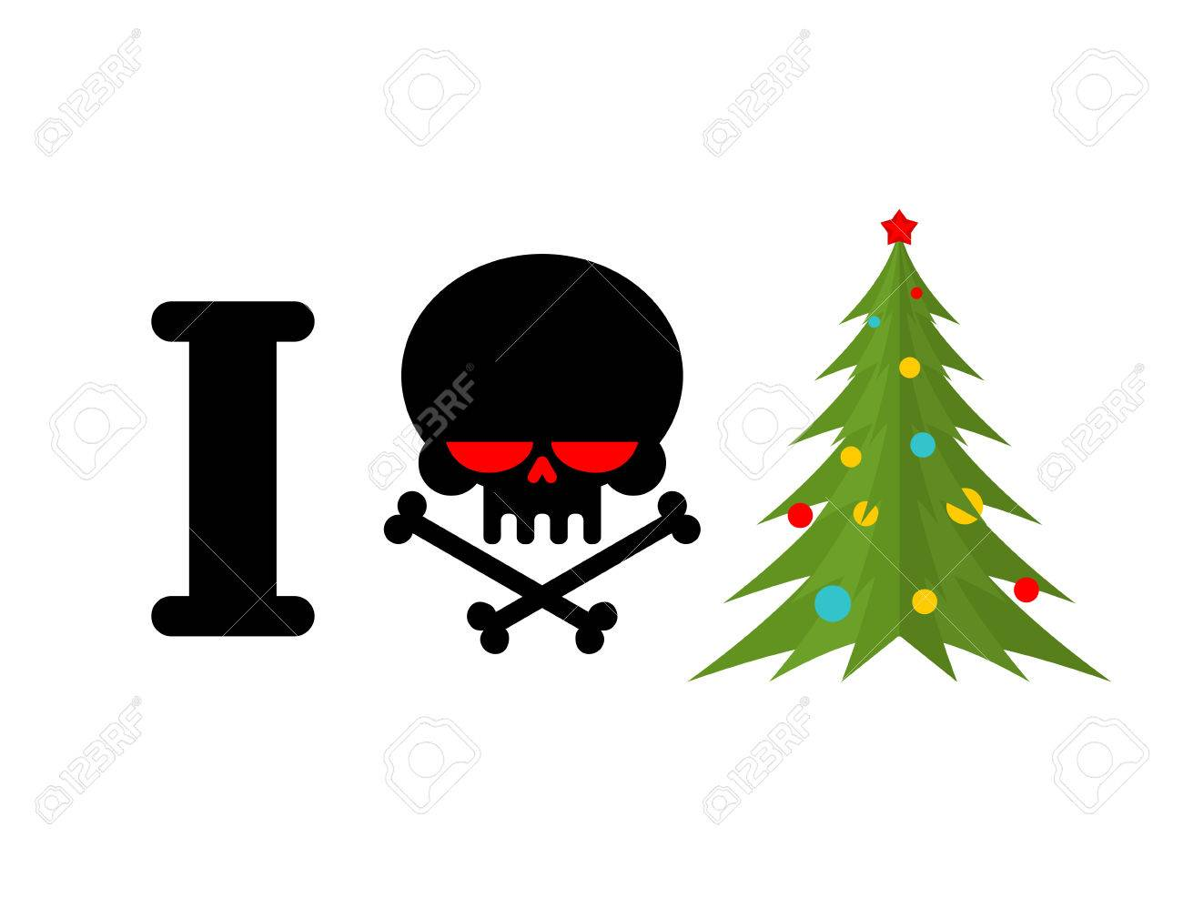 I Hate Christmas Skull And Bones Symbol Of Hatred And Christmas