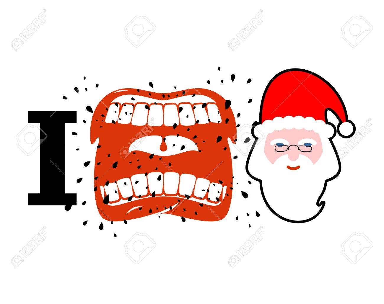 I Hate Christmas Shout Symbol Of Hatred Face Santa Claus