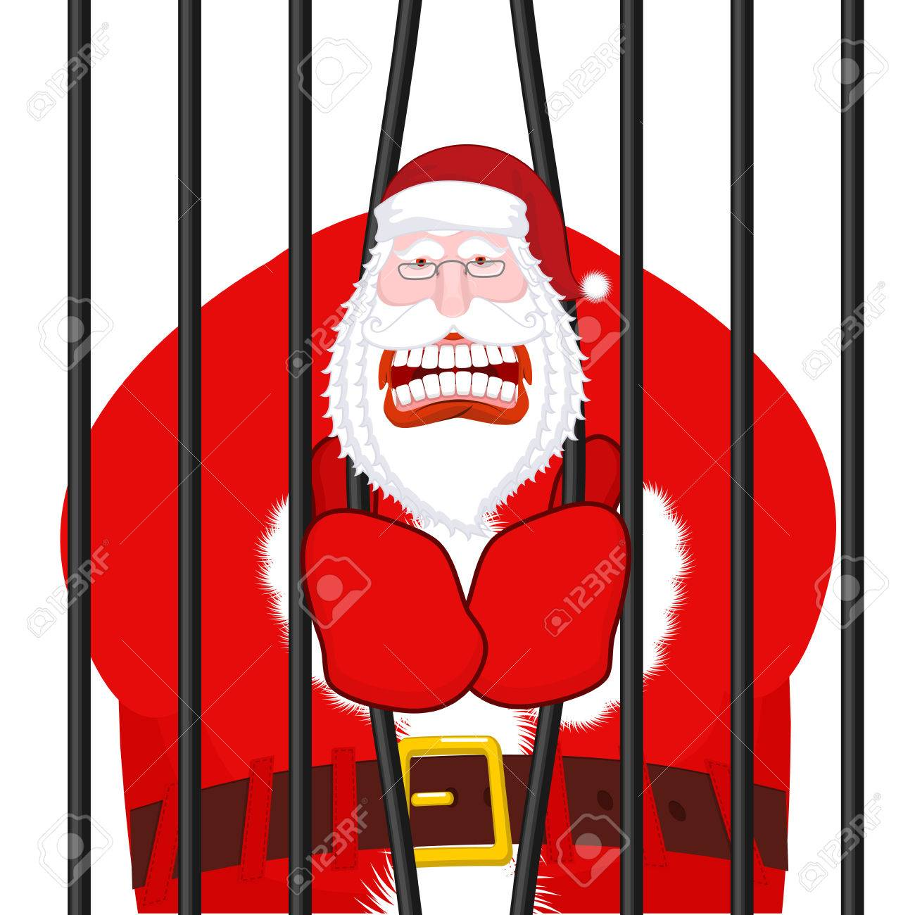 Prisoner Christmas.Santa Claus Gangster Christmas In Prison Window In Prison With