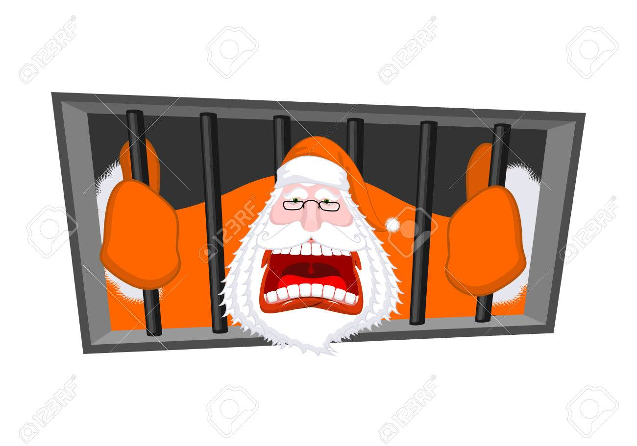 Santa Claus Orange Prisoner Clothing Christmas In Prison Window