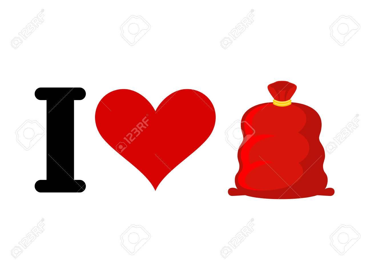 Ich Liebe Weihnachtsgeschenke. Herz Und Sankt-Tasche Mit Geschenken ...