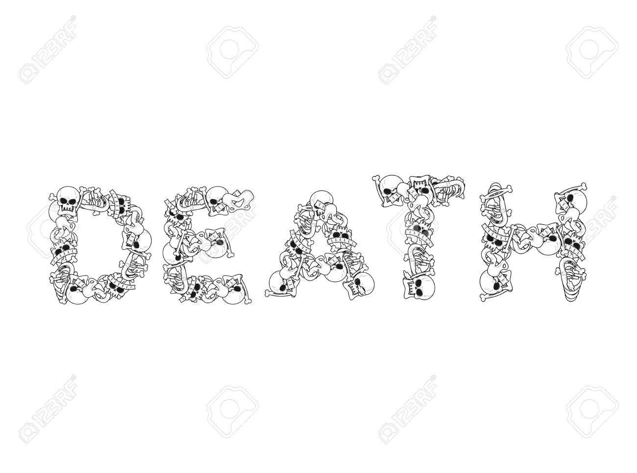 Tipografía Muerte. Las Cartas De Los Huesos. Letras De La Anatomía ...