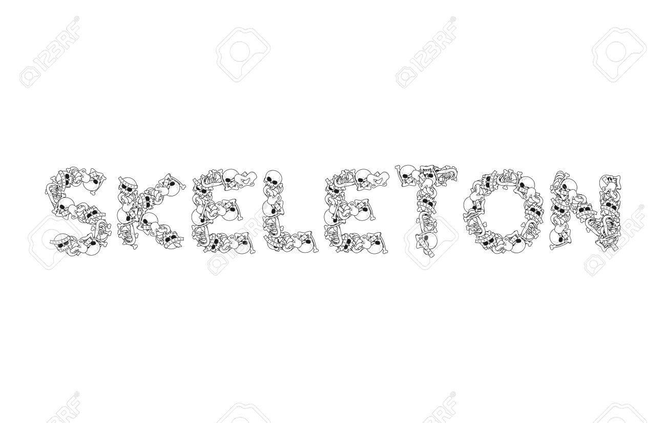 Signo Esqueleto. Letras De La Anatomía. Tipografía Muerte. Las ...