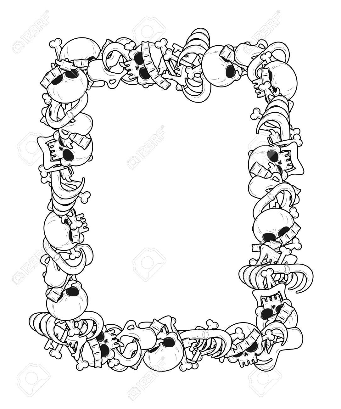 Frame Of Bones Anatomy Background Skeleton Template Skull