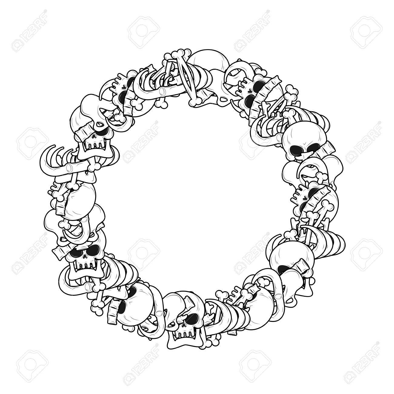 Ring Frame Of Bones Anatomy Background Skeleton Template Skull