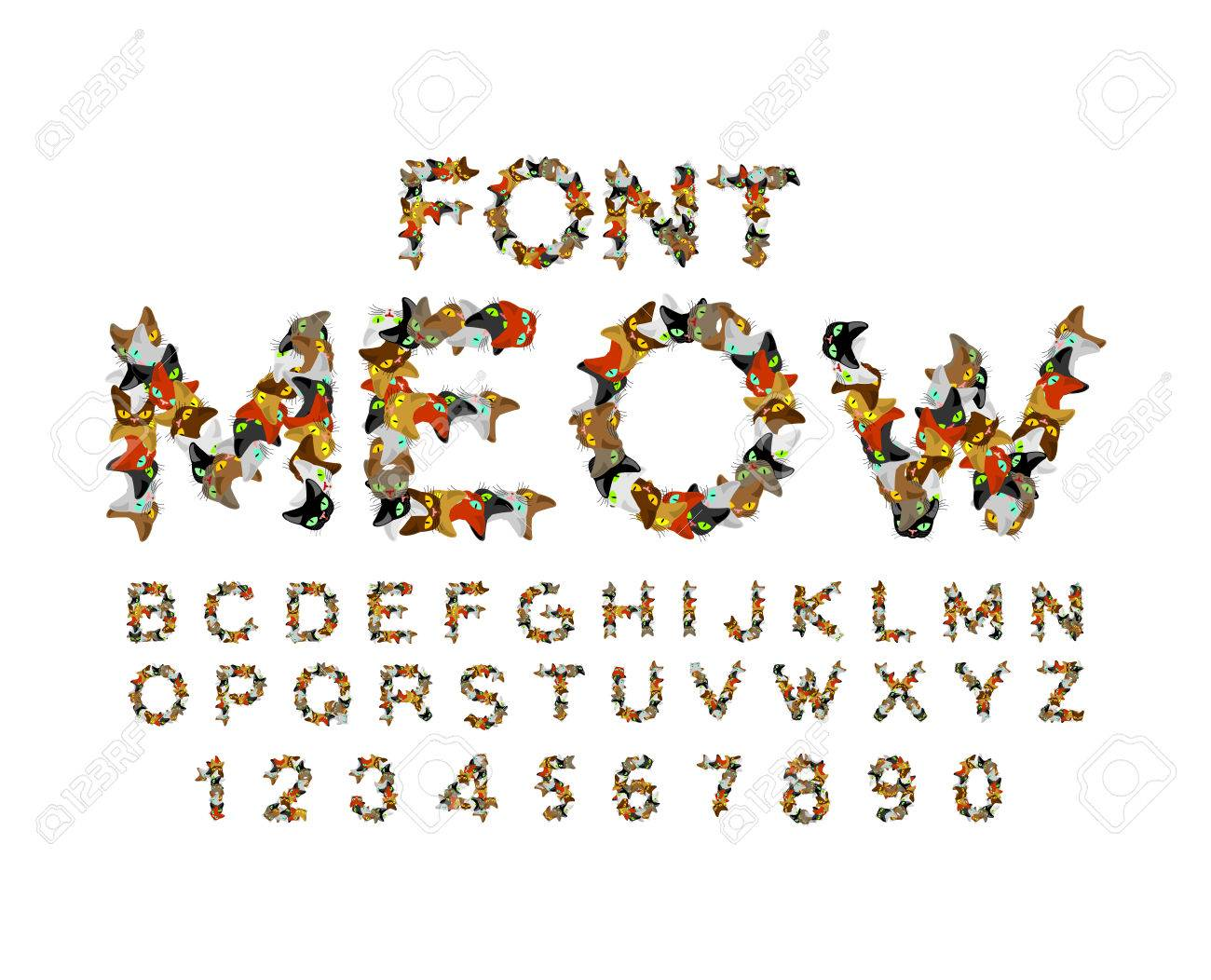 Cartoon Characters 8 Letters : Meow font. cat alphabet. catlike abc. letters of pet. pets
