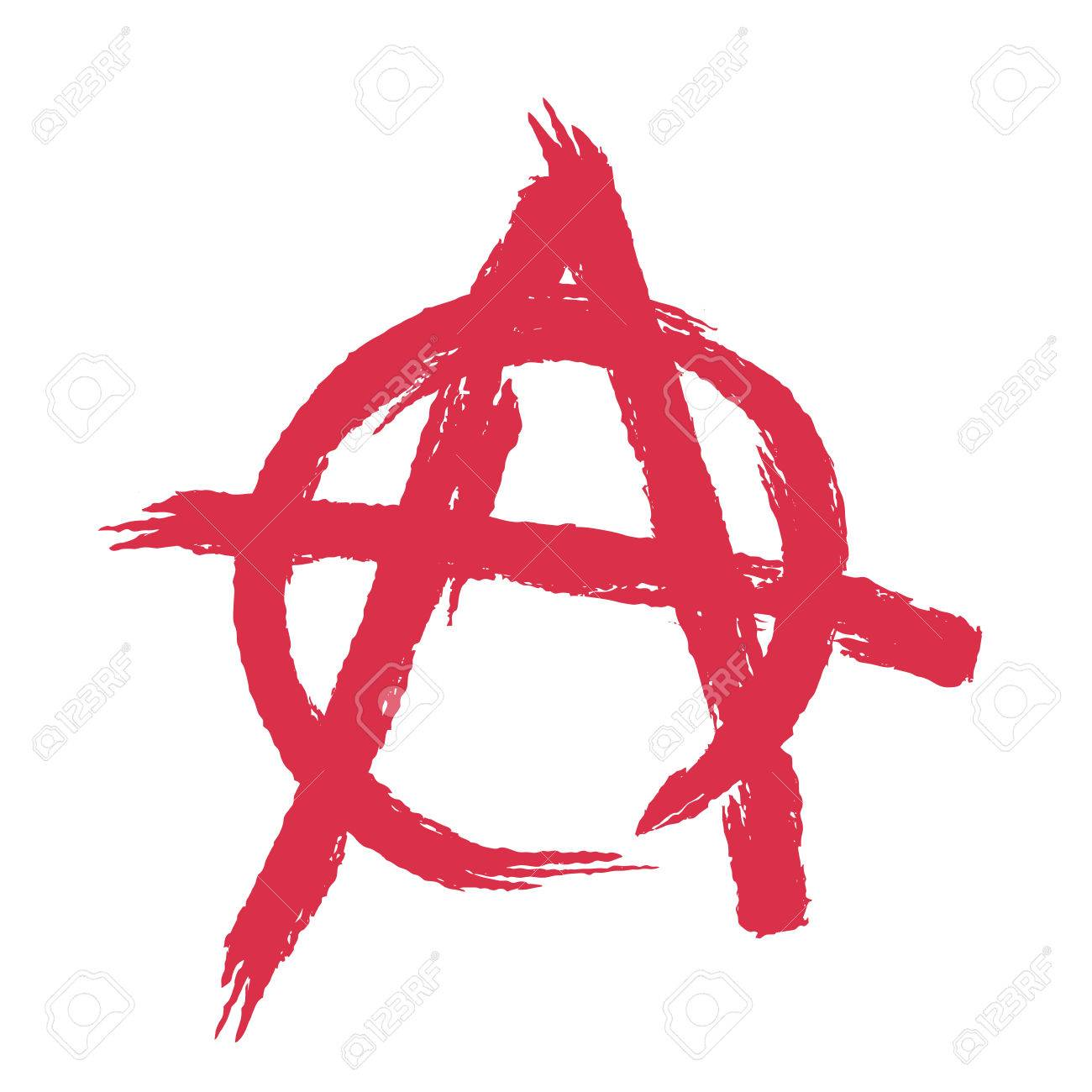 anarchy sign isolated brush strokes grunge style royalty free