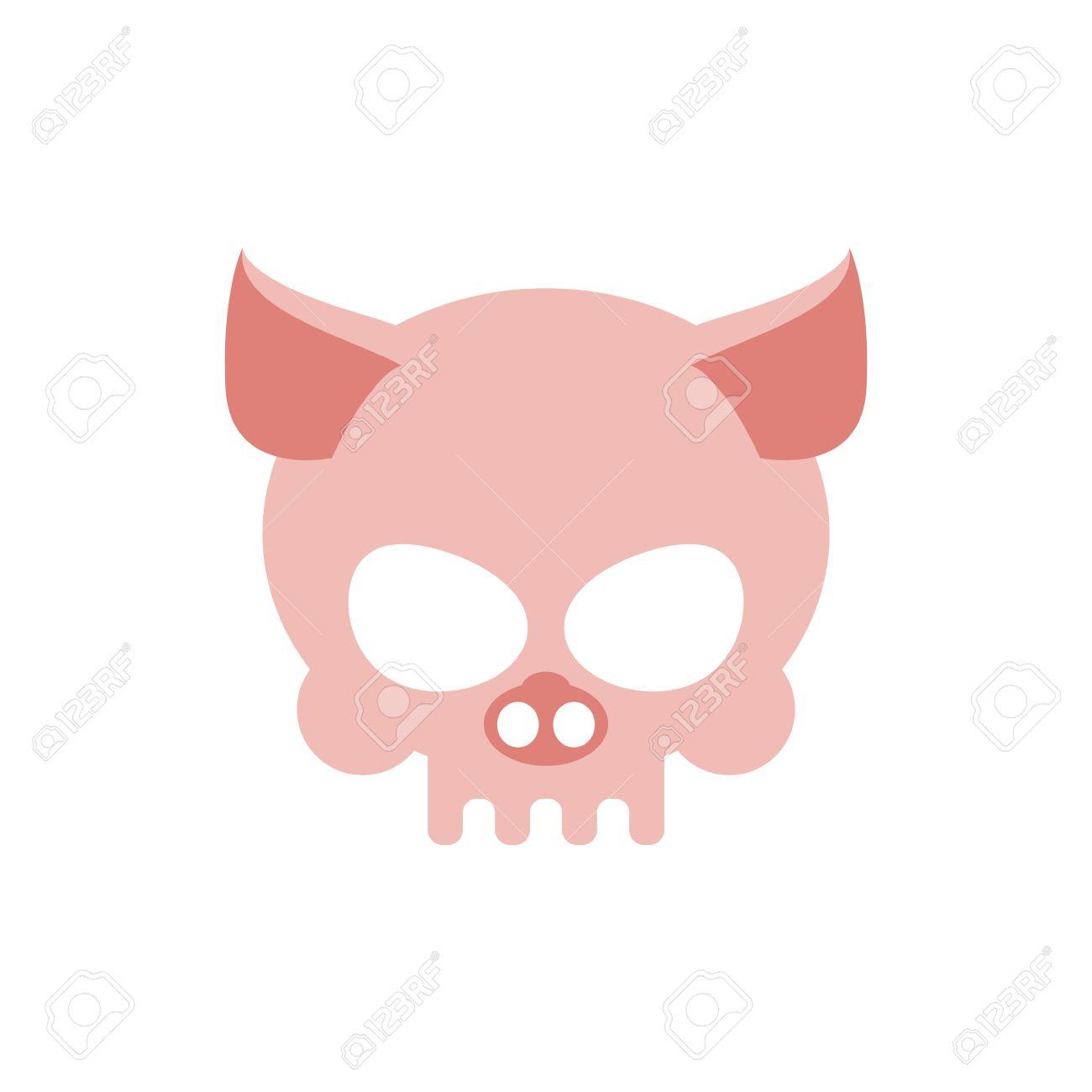 Cerdo Cráneo Aislado. Cabeza De Esqueleto De Color Rosa Porcina ...