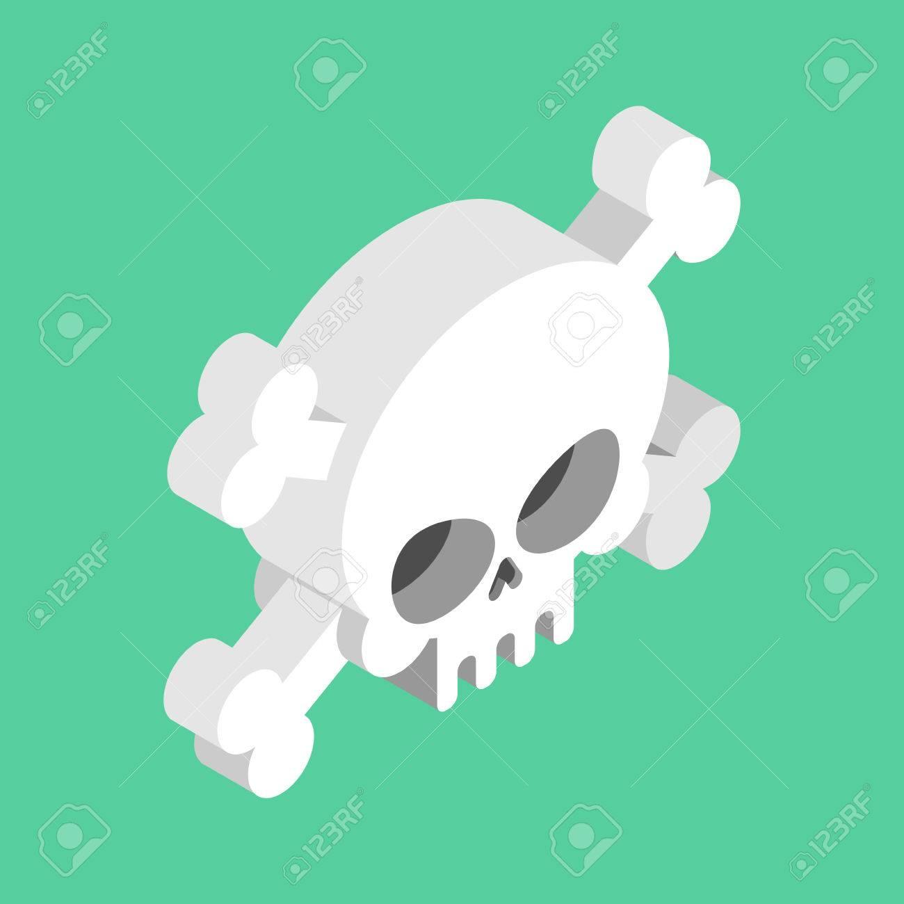 Schädel Und Gekreuzte Knochen Isoliert. Pirat Gefahrenzeichen ...