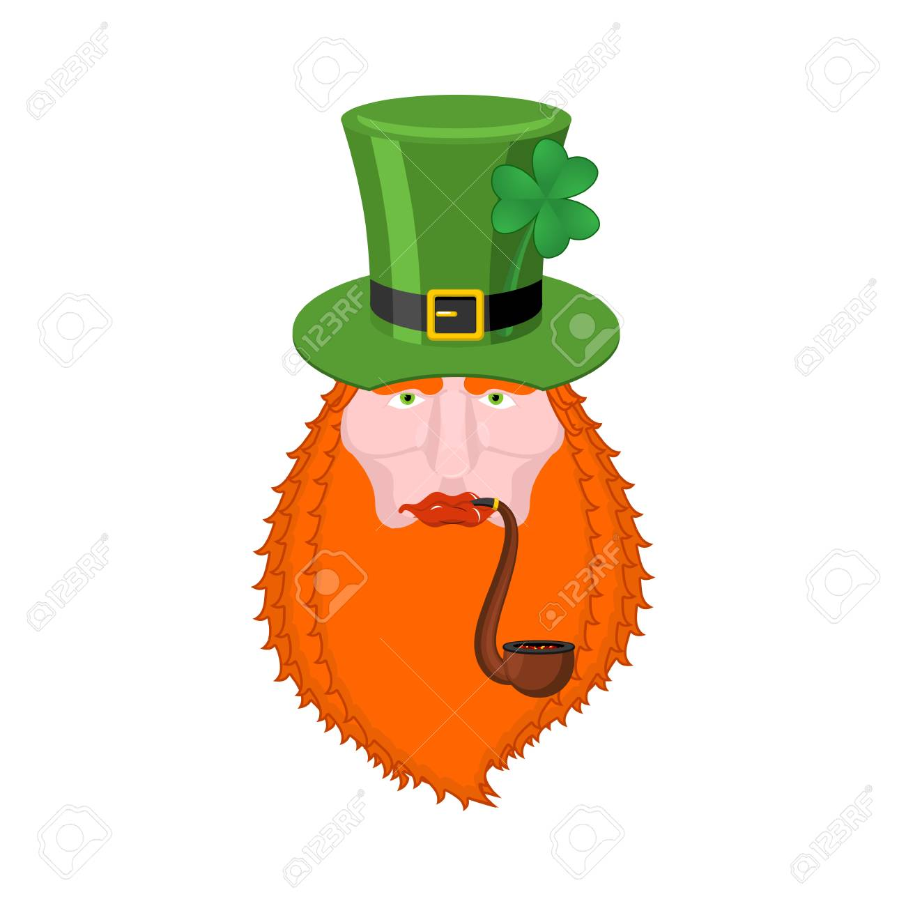 82c50dcce31 St. Patrick s Day Leprechaun with red beard and pipe. Green hat. Magic Dwarf