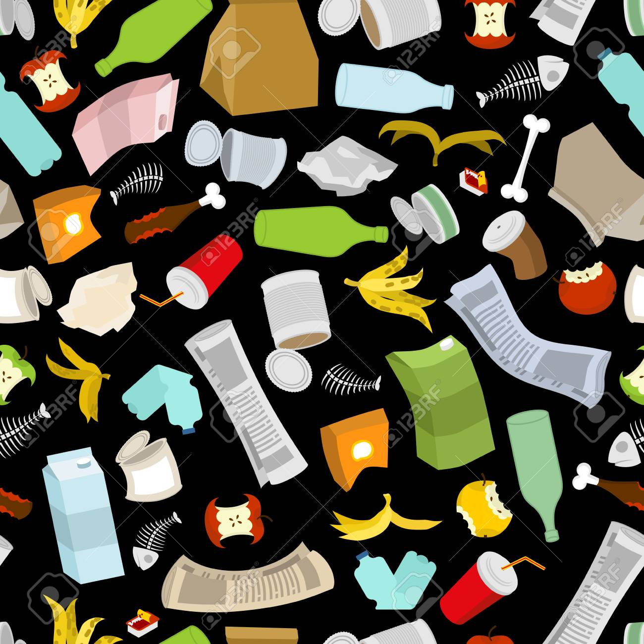 Rubbish seamless pattern. Garbage texture. trash ornament. dirty background. peel from banana and stub. Tin and old newspaper. Bone and packaging. Crumpled paper and plastic bottle - 72372571