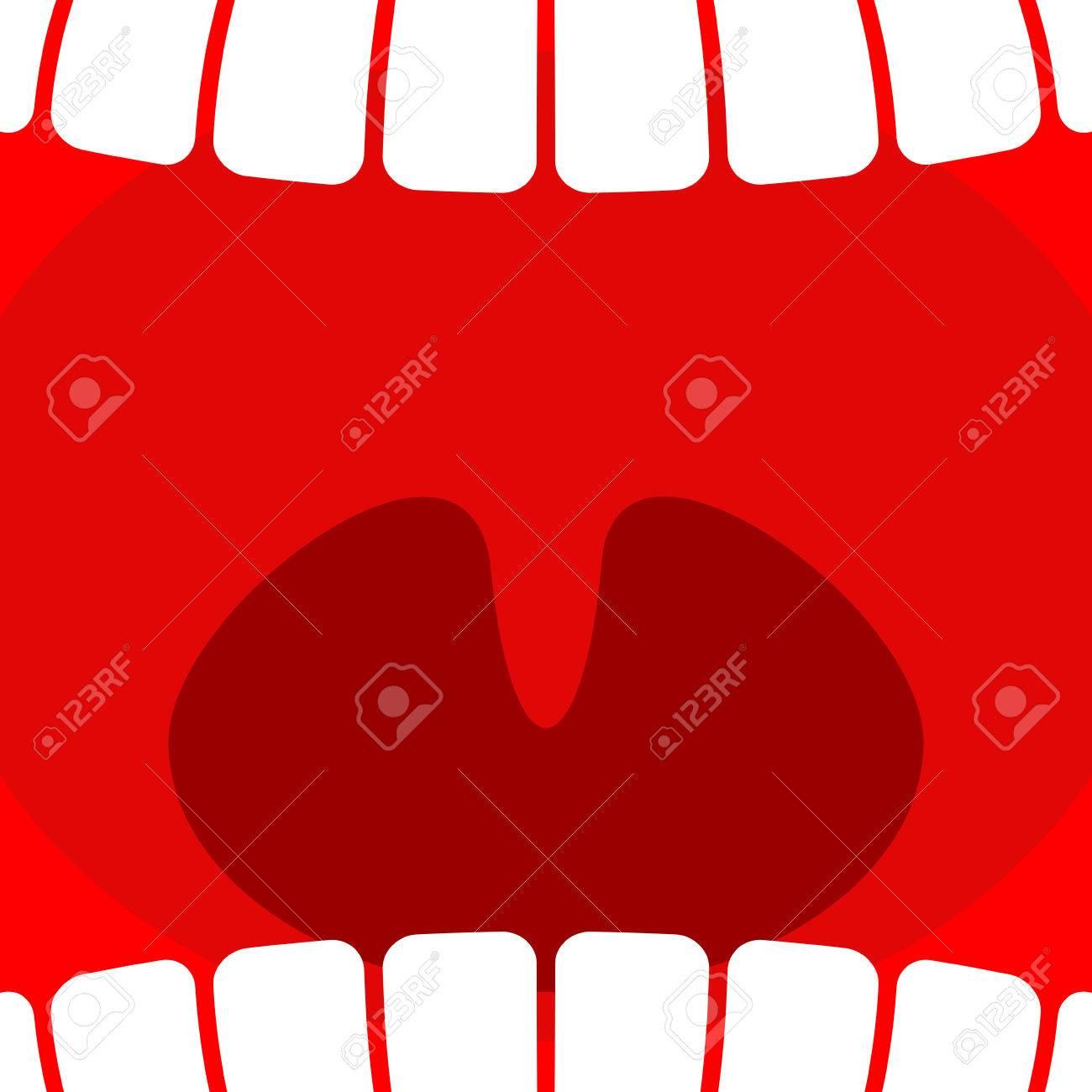 Offener Mund. Zähne Und Hals Hintergrund. Larynx Lizenzfrei Nutzbare ...