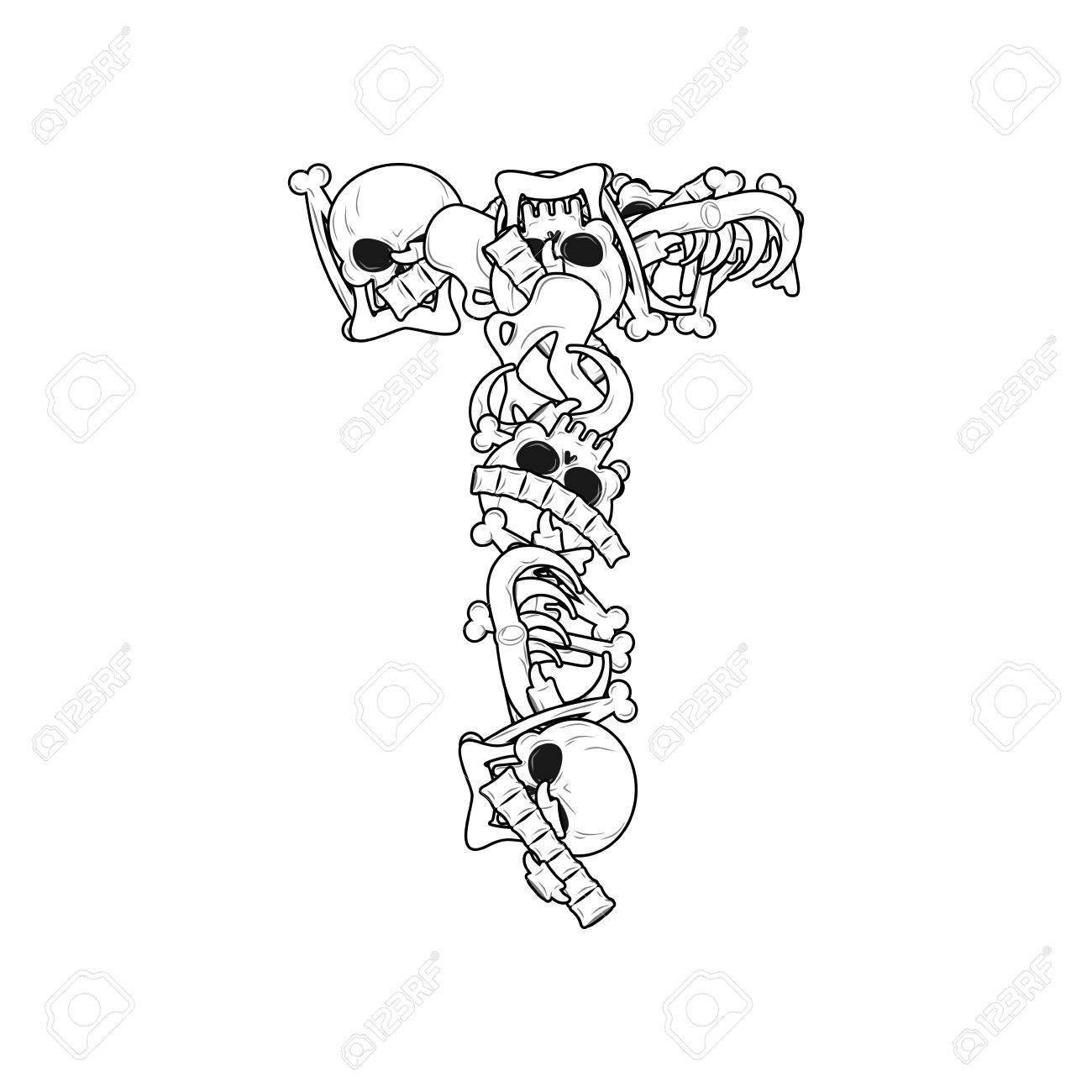 Letter T Skeleton Bones Font. Anatomy Of An Alphabet Symbol ...