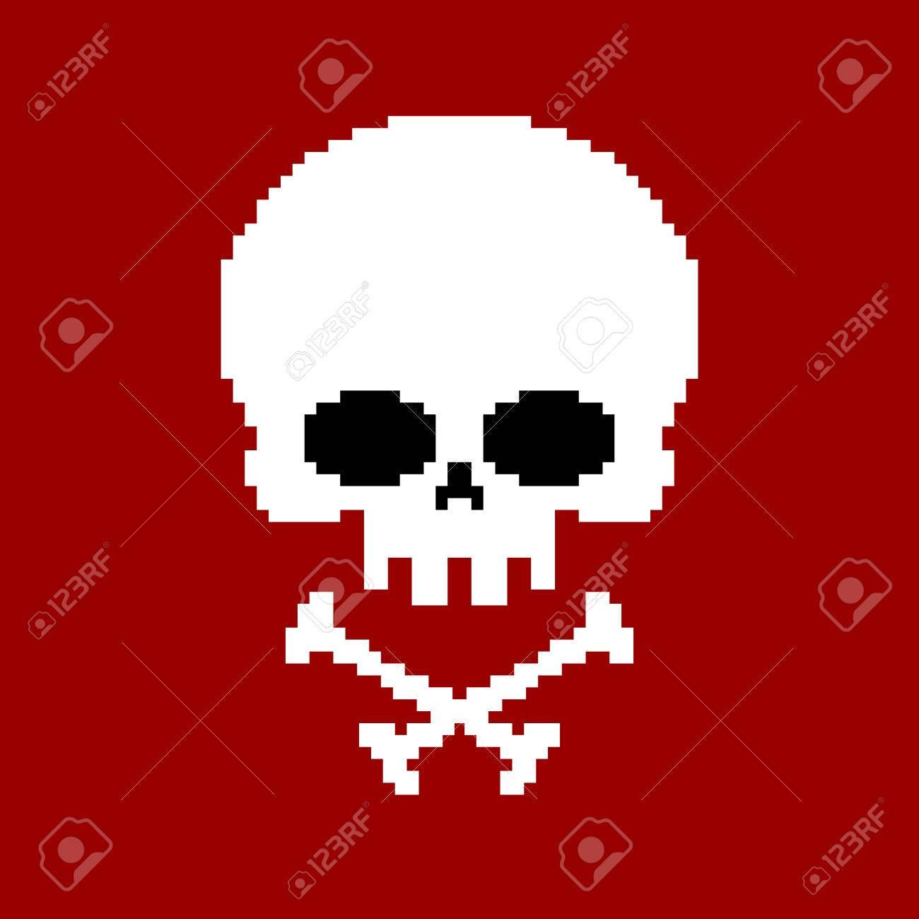 Crâne Pixel Art Tête De Squelette Pixélisé Isolé Sur Fond Blanc