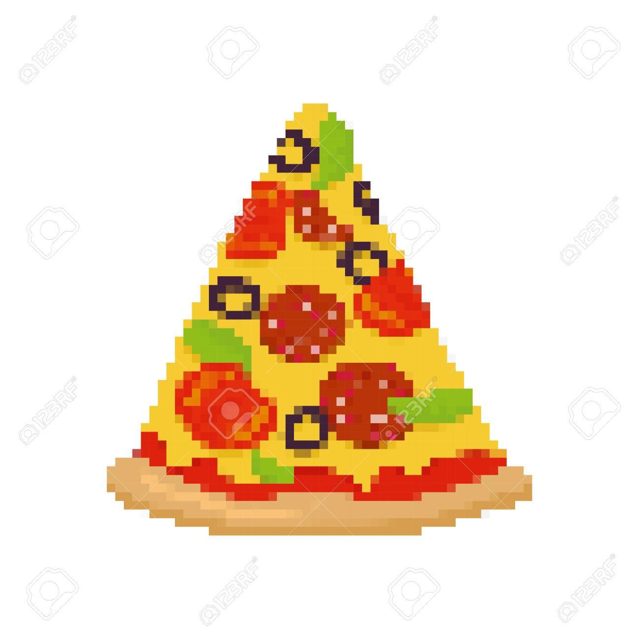 Pixel Art Pizza. Pedazo De Pizza Está Pixelada. La Comida Rápida ...