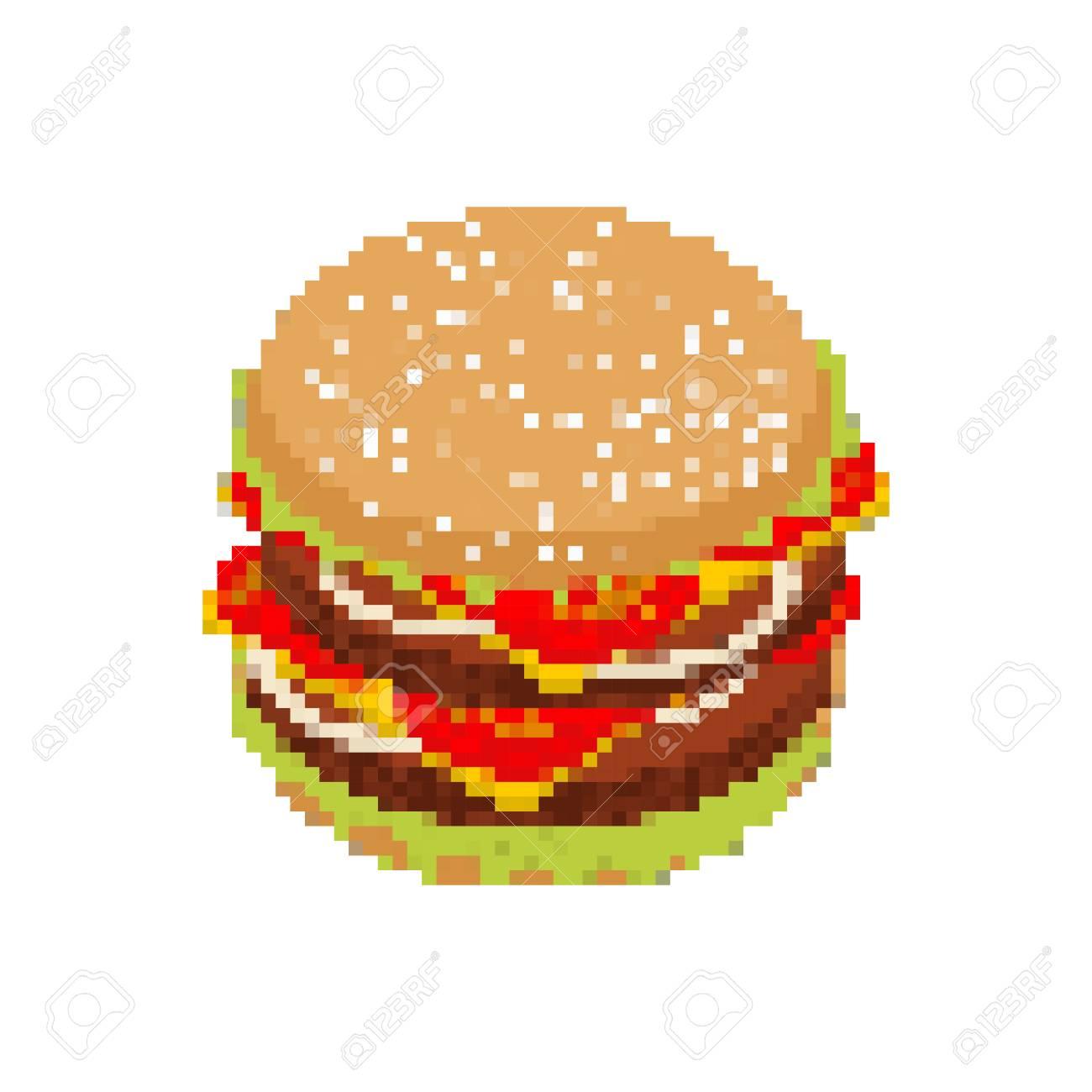 Hamburger Pixel Art Pixelated Fast Food Isolated On White Background