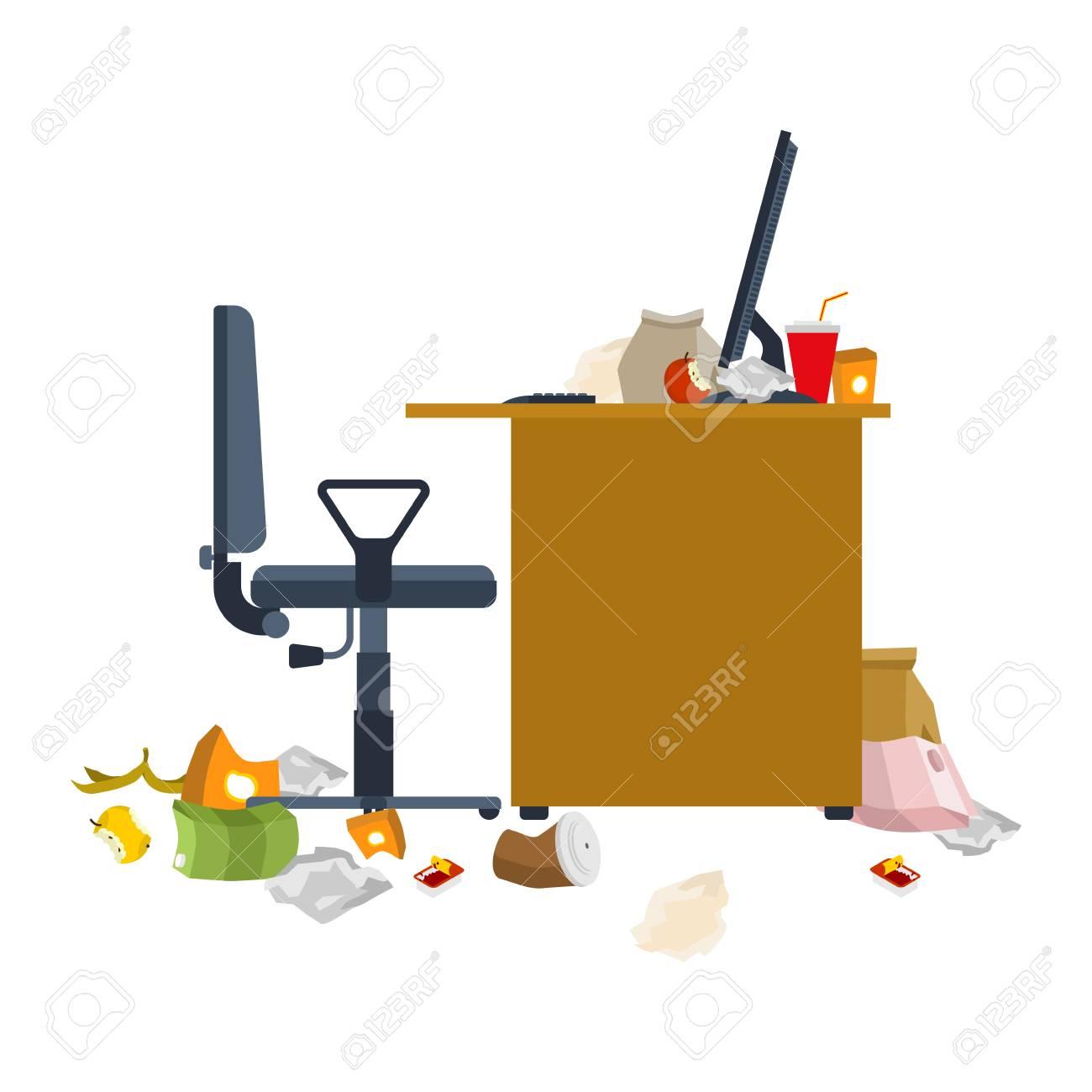 Schmutziger Arbeitsplatz Müll Und Stöcke Dreckiger