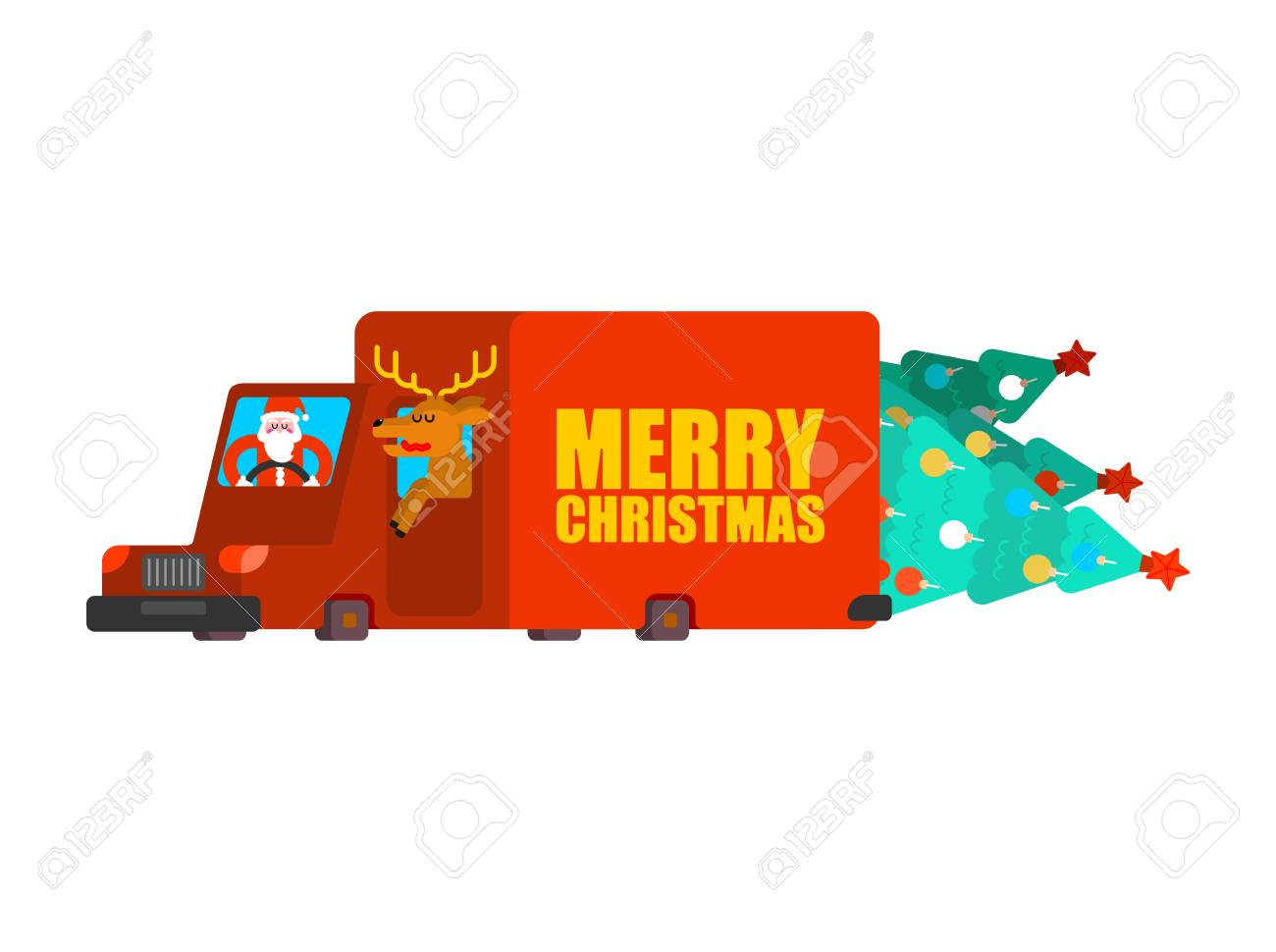 Santa Post Car Carry Christmas Tree And Gifts. Claus And Deer ...