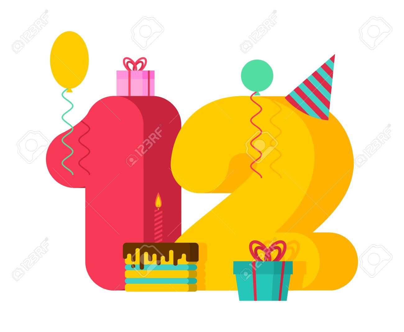 12 year greeting card birthday 12th anniversary celebration